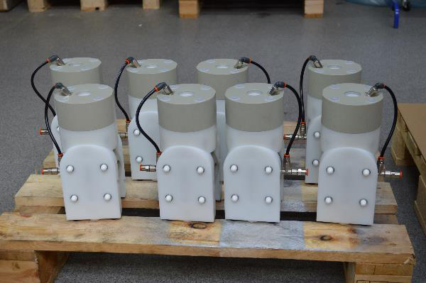Diaphragm pump with built on pulsation dampener